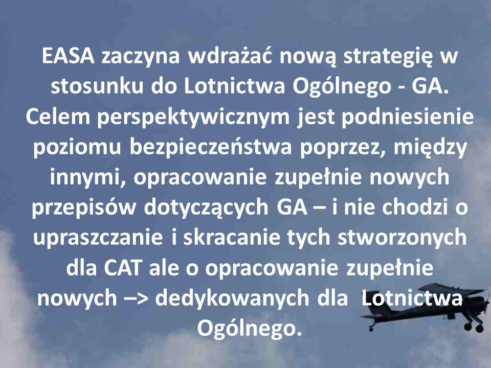 EASA zaczyna wdrażać nową strategię w stosunku do Lotnictwa Ogólnego - GA. Celem perspektywicznym jest podniesienie poziomu bezpieczeństwa poprzez, mi