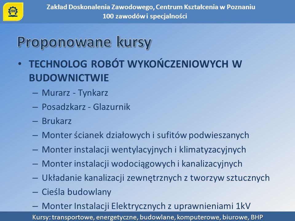 Zakład Doskonalenia Zawodowego, Centrum Kształcenia w Poznaniu Kursy: transportowe, energetyczne, budowlane, komputerowe, biurowe, BHP TECHNOLOG ROBÓT
