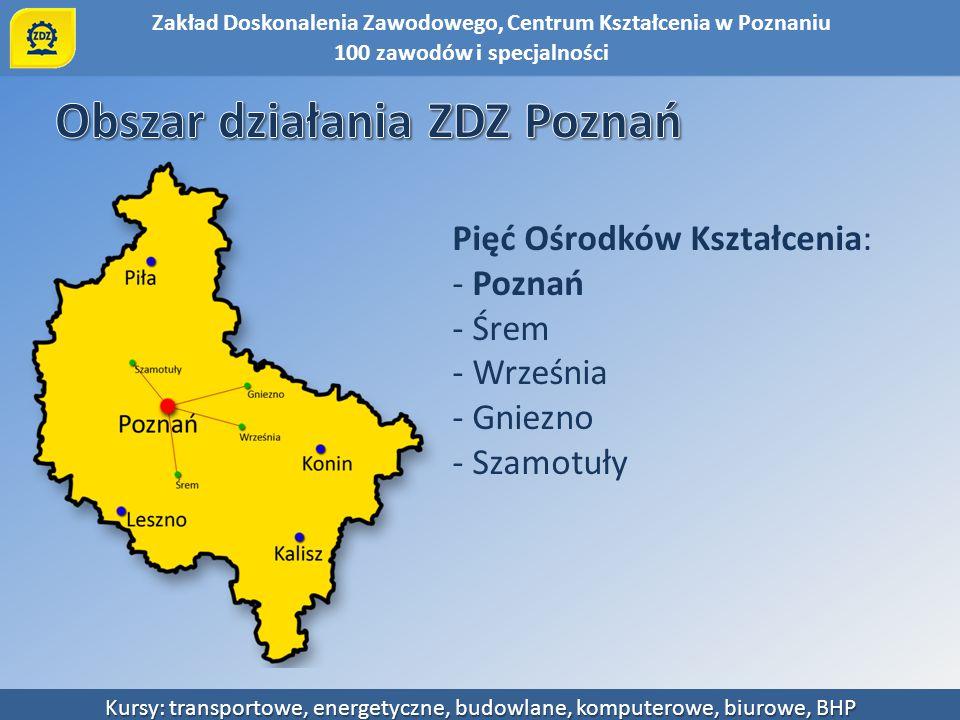 Zakład Doskonalenia Zawodowego, Centrum Kształcenia w Poznaniu Kursy: transportowe, energetyczne, budowlane, komputerowe, biurowe, BHP KURSY: Tematyka na 2 poziomach- podstawowy i zaawansowany.