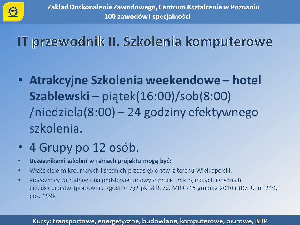 Zakład Doskonalenia Zawodowego, Centrum Kształcenia w Poznaniu Kursy: transportowe, energetyczne, budowlane, komputerowe, biurowe, BHP Atrakcyjne Szko