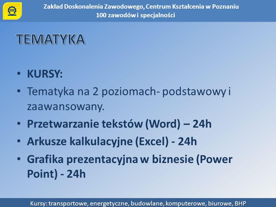 Zakład Doskonalenia Zawodowego, Centrum Kształcenia w Poznaniu Kursy: transportowe, energetyczne, budowlane, komputerowe, biurowe, BHP KURSY: Tematyka