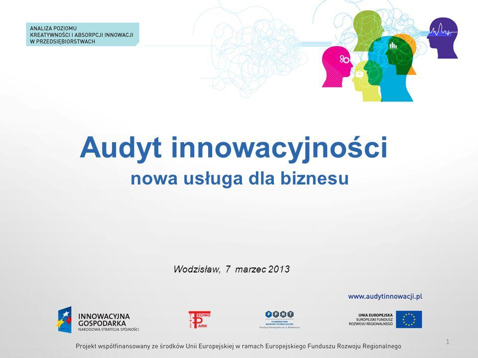 Audyt innowacyjności Wodzisław, 7 marzec 2013 1 nowa usługa dla biznesu