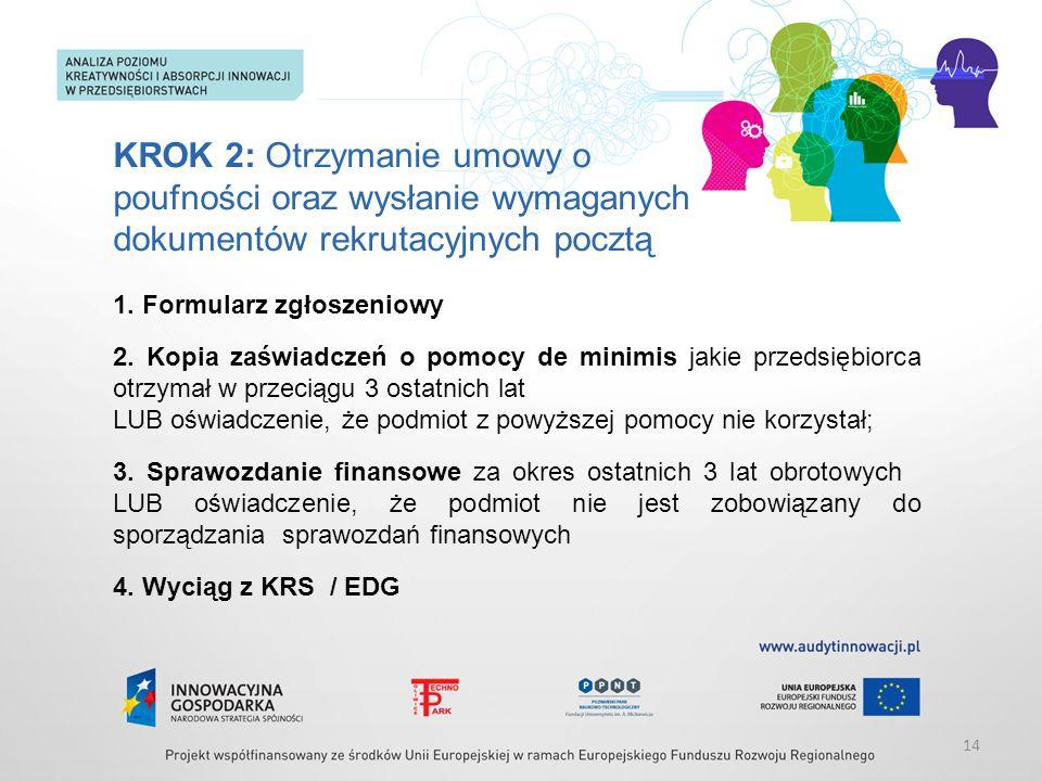 KROK 2: Otrzymanie umowy o poufności oraz wysłanie wymaganych dokumentów rekrutacyjnych pocztą 1. Formularz zgłoszeniowy 2. Kopia zaświadczeń o pomocy