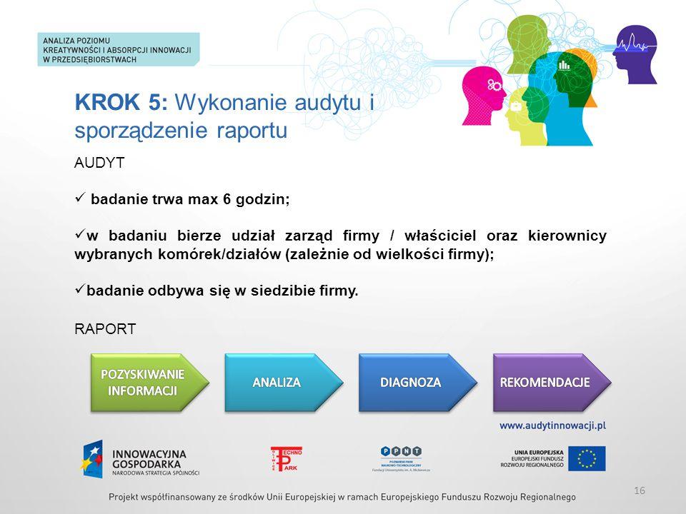 KROK 5: Wykonanie audytu i sporządzenie raportu AUDYT badanie trwa max 6 godzin; w badaniu bierze udział zarząd firmy / właściciel oraz kierownicy wyb