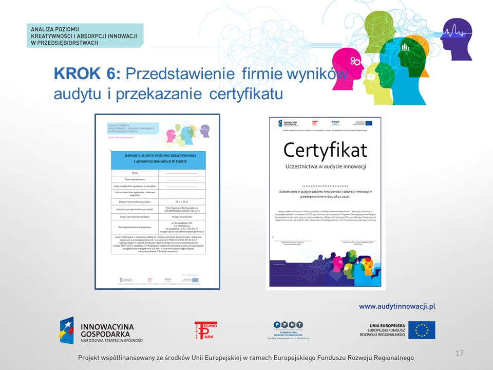 KROK 6: Przedstawienie firmie wyników audytu i przekazanie certyfikatu 17