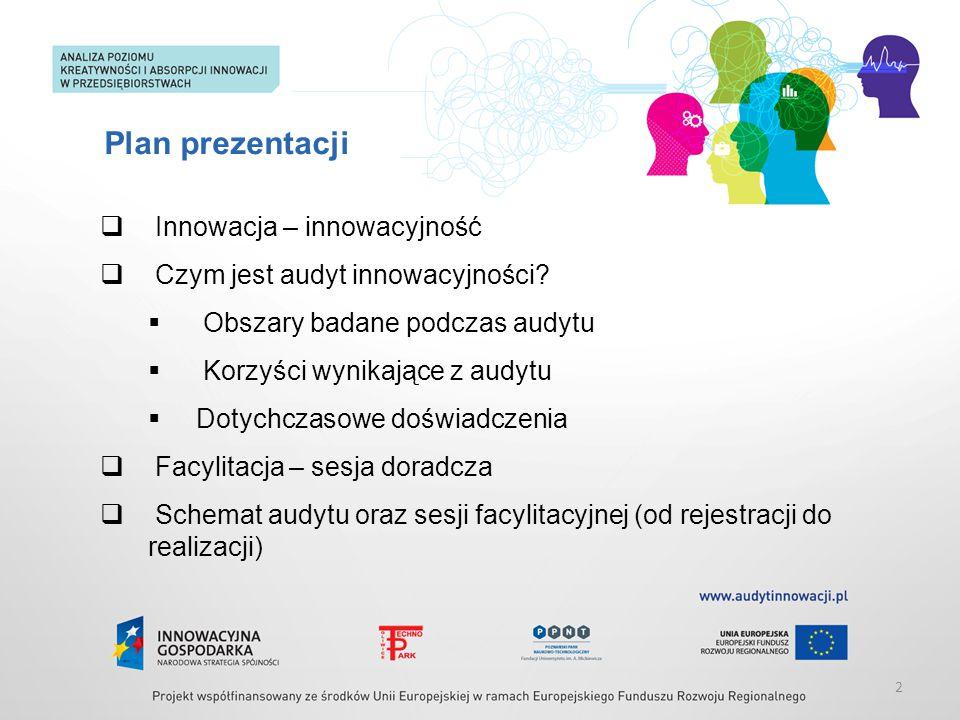 Plan prezentacji  Innowacja – innowacyjność  Czym jest audyt innowacyjności?  Obszary badane podczas audytu  Korzyści wynikające z audytu  Dotych