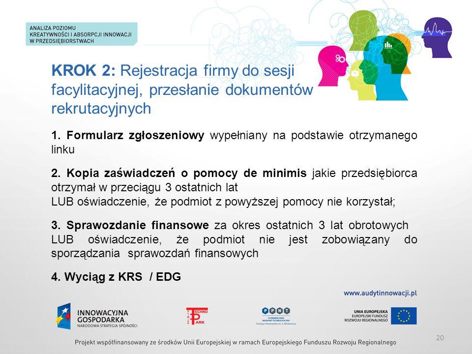 KROK 2: Rejestracja firmy do sesji facylitacyjnej, przesłanie dokumentów rekrutacyjnych 1. Formularz zgłoszeniowy wypełniany na podstawie otrzymanego