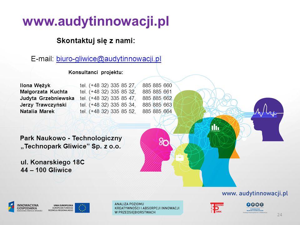www.audytinnowacji.pl Skontaktuj się z nami: E-mail: biuro-gliwice@audytinnowacji.plbiuro-gliwice@audytinnowacji.pl Konsultanci projektu: Ilona Wężyktel.