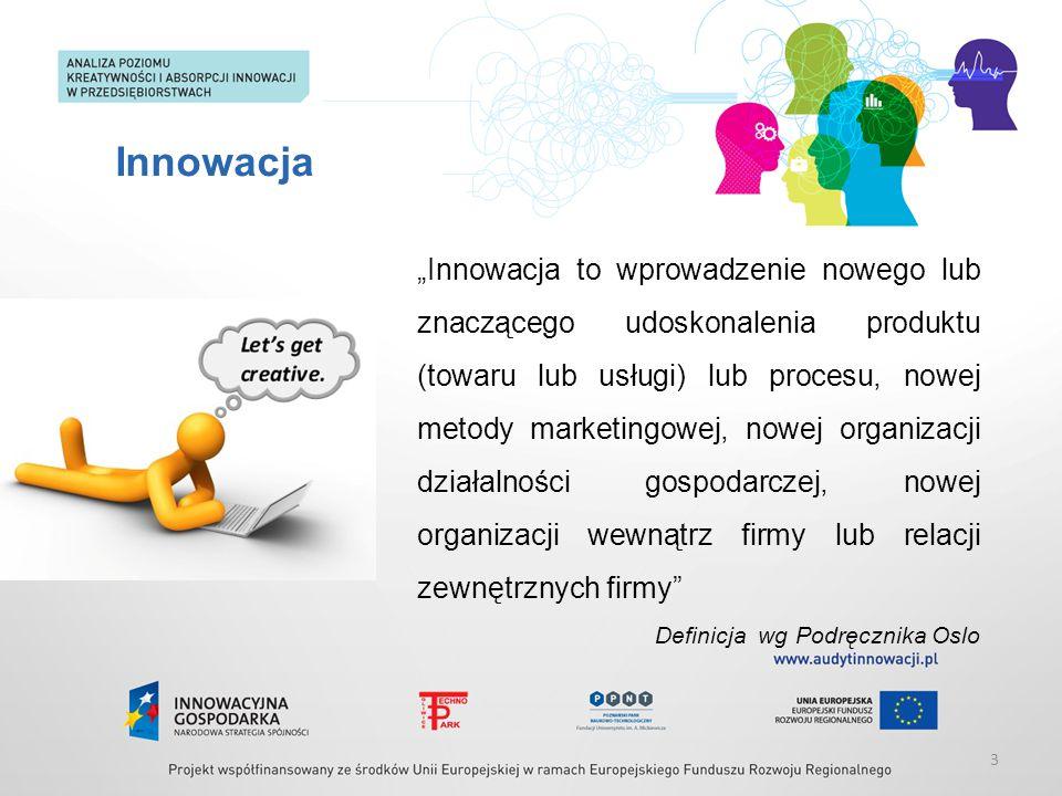 """Innowacja """"Innowacja to wprowadzenie nowego lub znaczącego udoskonalenia produktu (towaru lub usługi) lub procesu, nowej metody marketingowej, nowej o"""