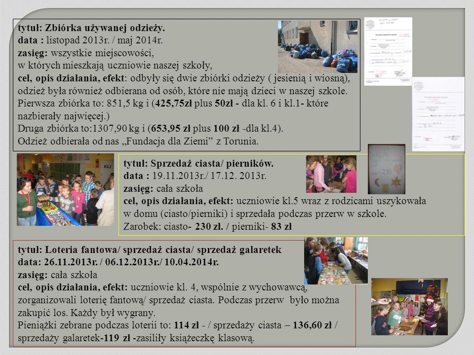 tytuł: Zbiórka używanej odzieży. data : listopad 2013r. / maj 2014r. zasięg: wszystkie miejscowości, w których mieszkają uczniowie naszej szkoły, cel,
