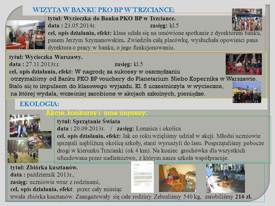 tytuł: Zbiórka kasztanów. data : październik 2013r., zasięg: uczniowie wraz z rodzinami, cel, opis działania, efekt: przez cały miesiąc trwała zbiórka