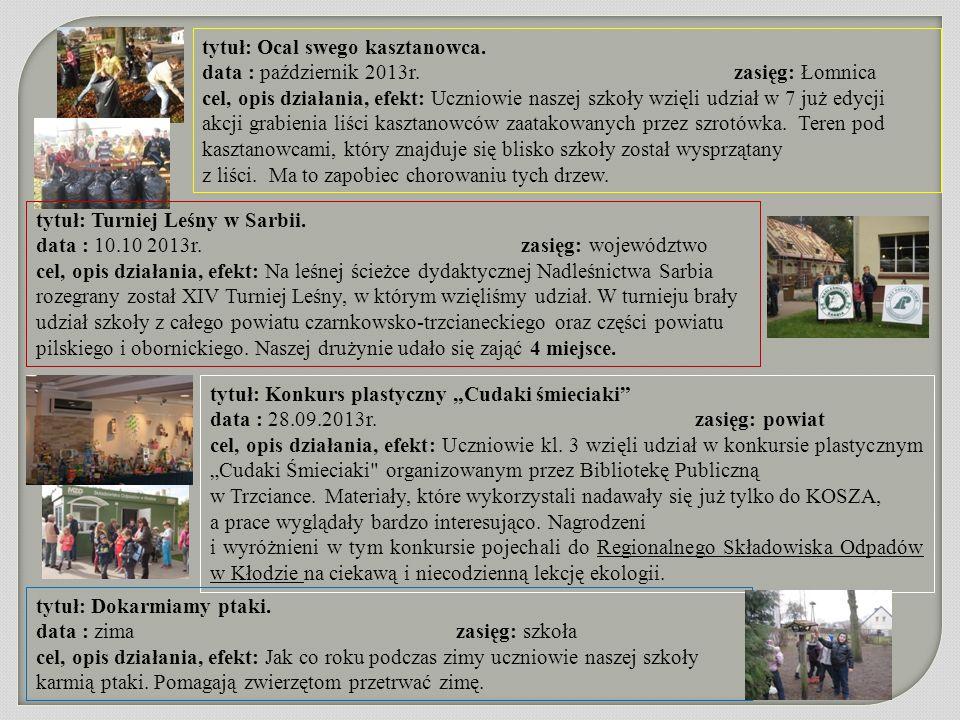 tytuł: Ocal swego kasztanowca. data : październik 2013r. zasięg: Łomnica cel, opis działania, efekt: Uczniowie naszej szkoły wzięli udział w 7 już edy