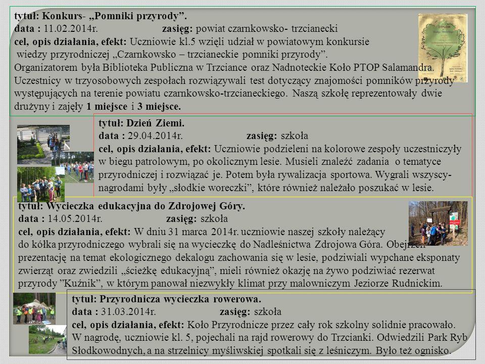 """tytuł: Konkurs- """"Pomniki przyrody"""". data : 11.02.2014r. zasięg: powiat czarnkowsko- trzcianecki cel, opis działania, efekt: Uczniowie kl.5 wzięli udzi"""