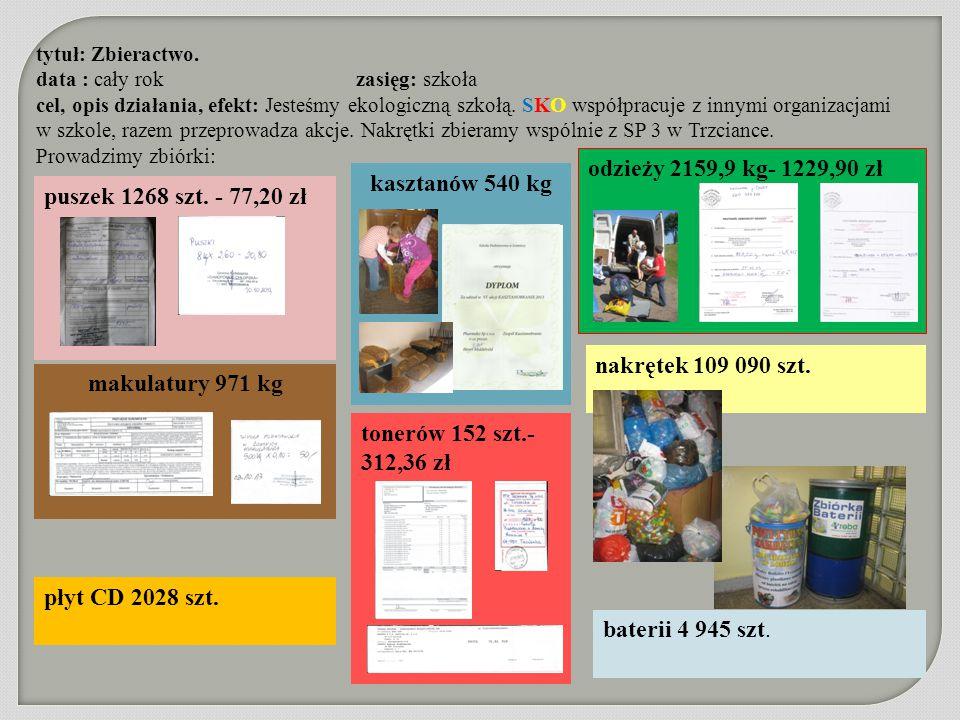 makulatury 971 kg kasztanów 540 kg tytuł: Zbieractwo. data : cały rok zasięg: szkoła cel, opis działania, efekt: Jesteśmy ekologiczną szkołą. SKO wspó