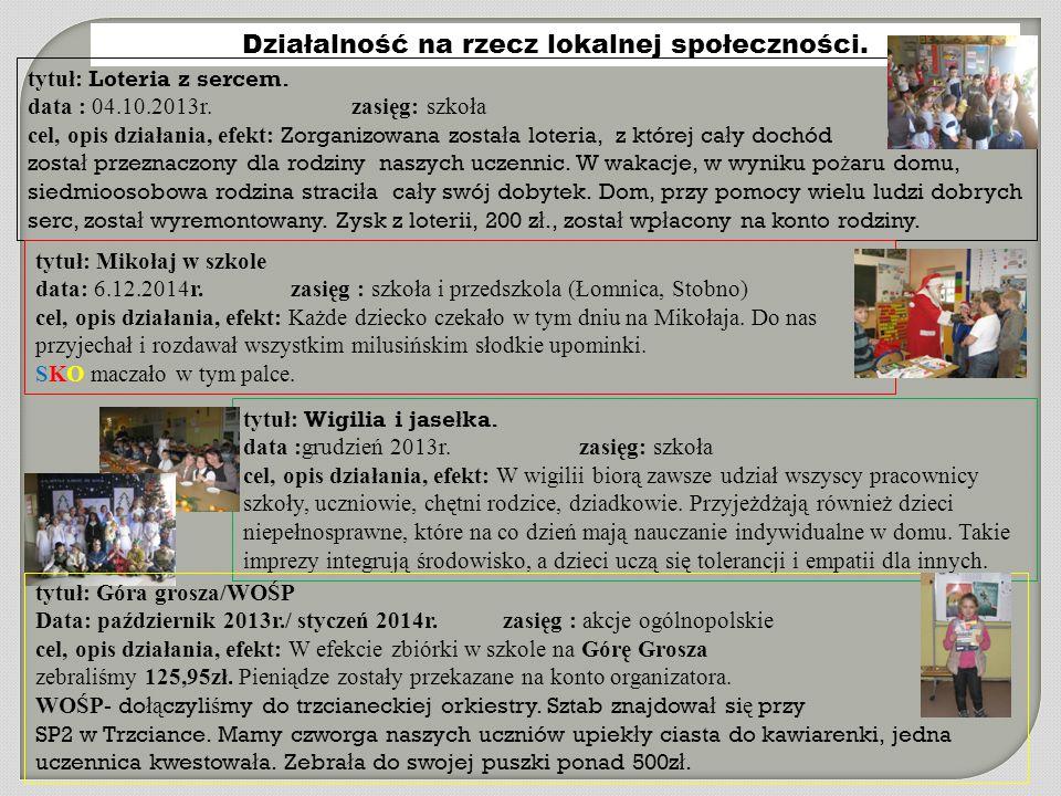 Działalność na rzecz lokalnej społeczności. tytuł: Loteria z sercem. data : 04.10.2013r. zasięg: szkoła cel, opis działania, efekt: Zorganizowana zost