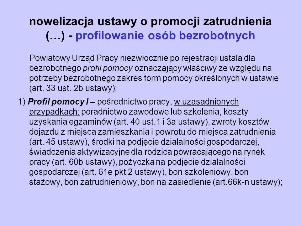 nowelizacja ustawy o promocji zatrudnienia (…) - profilowanie osób bezrobotnych Powiatowy Urząd Pracy niezwłocznie po rejestracji ustala dla bezrobotn