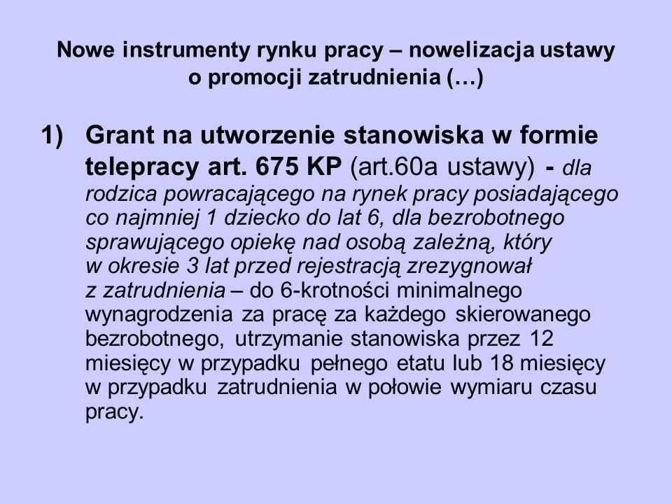 Nowe instrumenty rynku pracy – nowelizacja ustawy o promocji zatrudnienia (…) 1)Grant na utworzenie stanowiska w formie telepracy art. 675 KP (art.60a