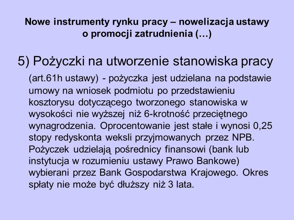 Nowe instrumenty rynku pracy – nowelizacja ustawy o promocji zatrudnienia (…) 5) Pożyczki na utworzenie stanowiska pracy (art.61h ustawy) - pożyczka j