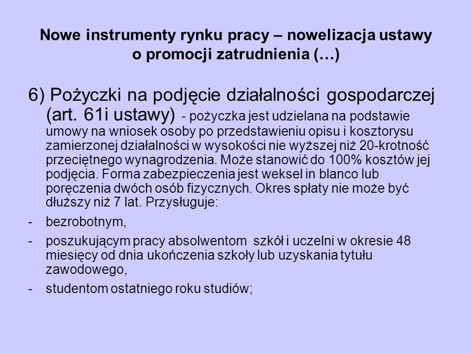 Nowe instrumenty rynku pracy – nowelizacja ustawy o promocji zatrudnienia (…) 6) Pożyczki na podjęcie działalności gospodarczej (art. 61i ustawy) - po