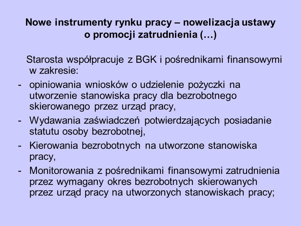 Nowe instrumenty rynku pracy – nowelizacja ustawy o promocji zatrudnienia (…) Starosta współpracuje z BGK i pośrednikami finansowymi w zakresie: -opin