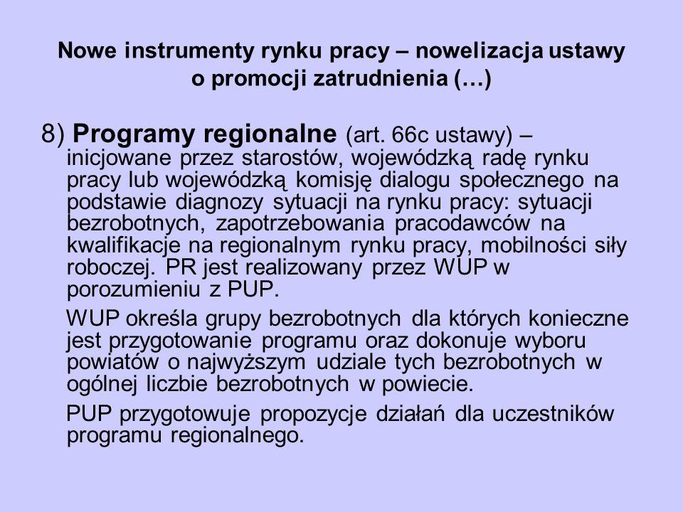 Nowe instrumenty rynku pracy – nowelizacja ustawy o promocji zatrudnienia (…) 8) Programy regionalne (art. 66c ustawy) – inicjowane przez starostów, w