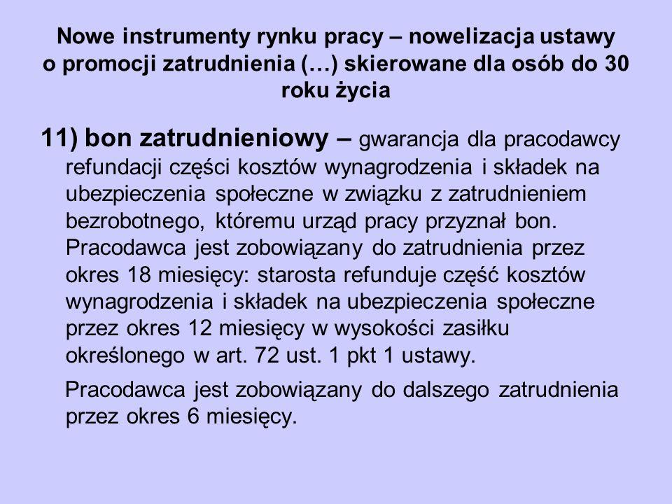 Nowe instrumenty rynku pracy – nowelizacja ustawy o promocji zatrudnienia (…) skierowane dla osób do 30 roku życia 11) bon zatrudnieniowy – gwarancja