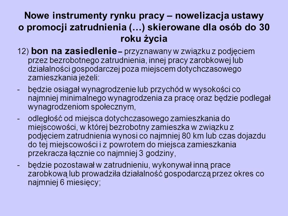 Nowe instrumenty rynku pracy – nowelizacja ustawy o promocji zatrudnienia (…) skierowane dla osób do 30 roku życia 12) bon na zasiedlenie – przyznawan