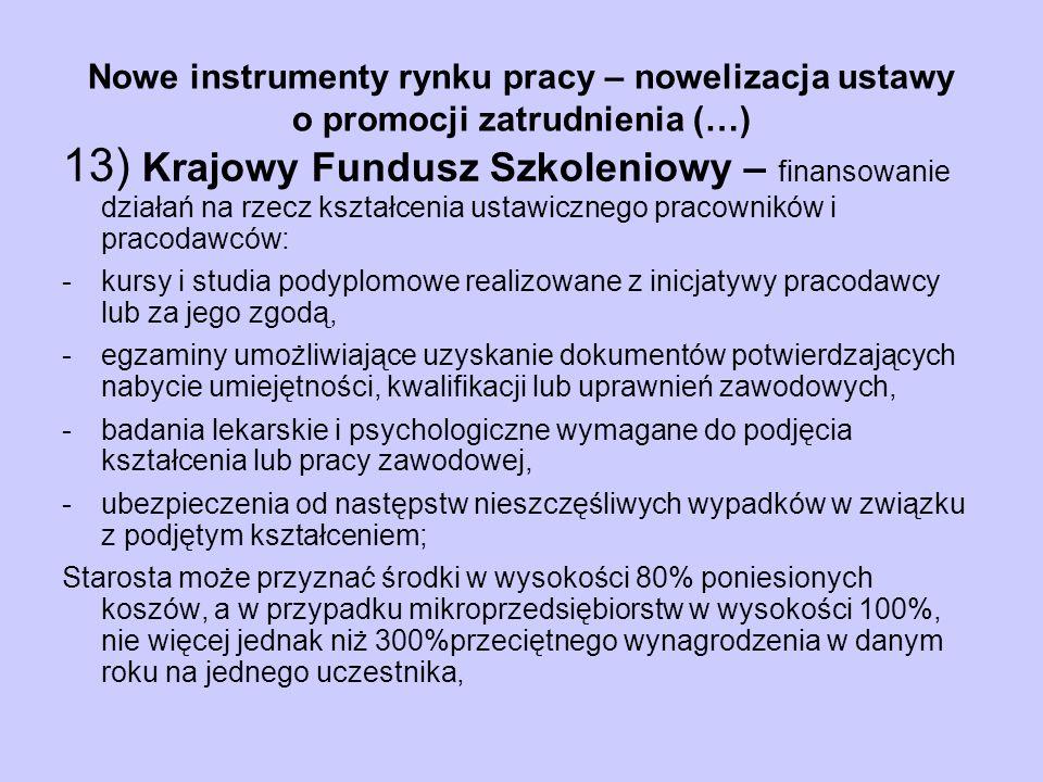 Nowe instrumenty rynku pracy – nowelizacja ustawy o promocji zatrudnienia (…) 13) Krajowy Fundusz Szkoleniowy – finansowanie działań na rzecz kształce