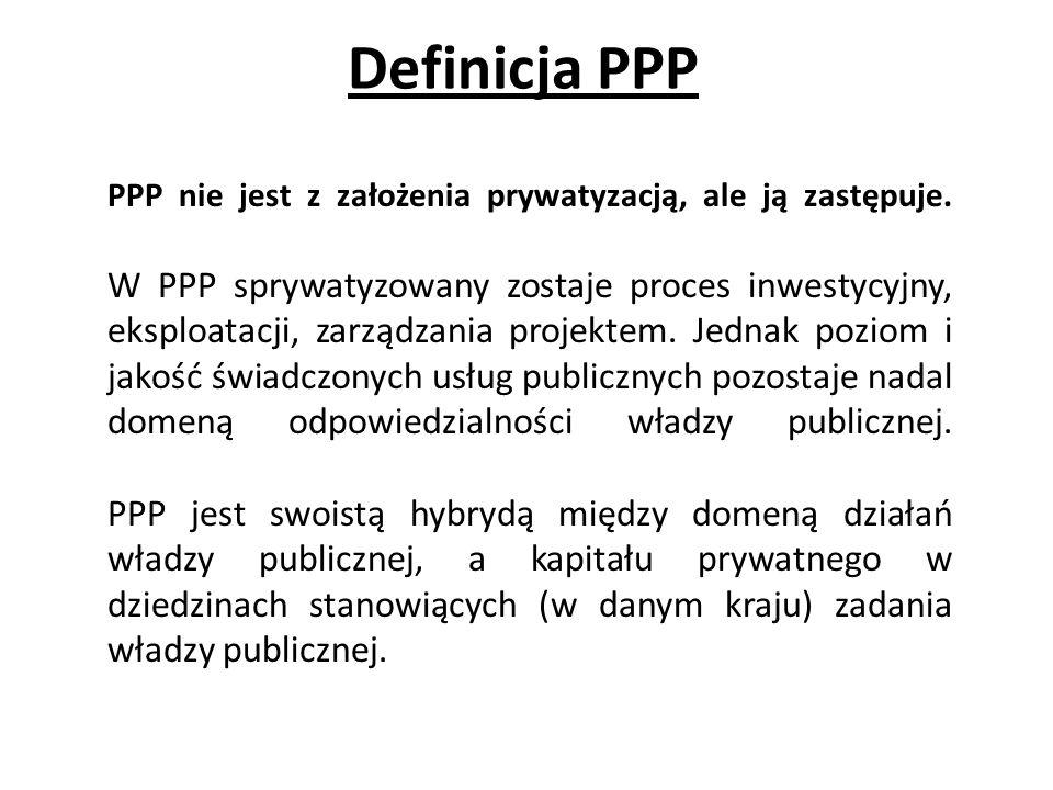 Definicja PPP PPP nie jest z założenia prywatyzacją, ale ją zastępuje. W PPP sprywatyzowany zostaje proces inwestycyjny, eksploatacji, zarządzania pro