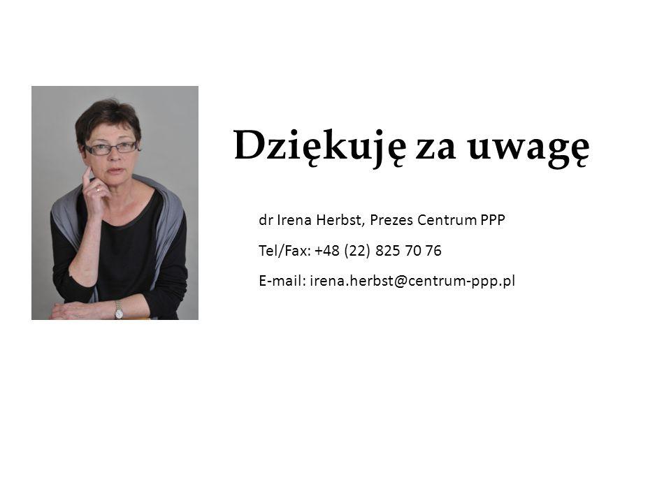 Dziękuję za uwagę dr Irena Herbst, Prezes Centrum PPP Tel/Fax: +48 (22) 825 70 76 E-mail: irena.herbst@centrum-ppp.pl