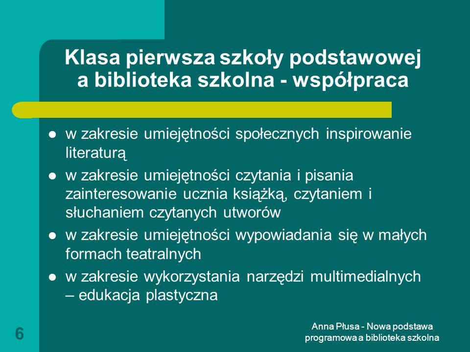 Anna Płusa - Nowa podstawa programowa a biblioteka szkolna 17 Zalecane warunki i sposób realizacji motywowanie ucznia do aktywnego poznawania rzeczywistości uczenie się i komunikowania samokształcenie i samodzielne docieranie do informacji dostęp do różnych źródeł informacji