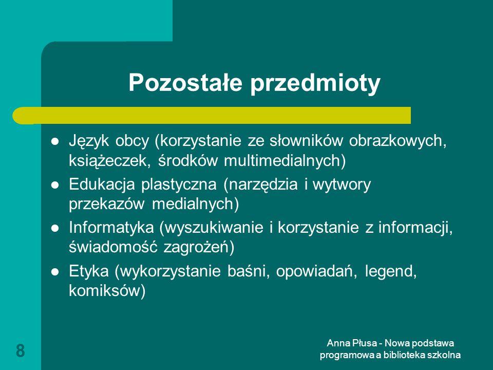 Anna Płusa - Nowa podstawa programowa a biblioteka szkolna 39 Informatyka IV etap edukacyjny Uczeń: znajduje dokumenty i informacje w udostępnianych w Internecie bazach danych (np.