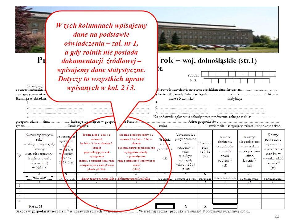 PROTOKÓŁ PESEL: NIG: (pieczęć gminy) z oszacowania zakresu i wysokości szkód w gospodarstwach rolnych i działach specjalnych produkcji rolnej spowodowanych niekorzystnym zjawiskiem atmosferycznym …………….………..…… występującym w okresie od ………… do …….…… 2014 r.; sporządzony przez Komisję powołaną Zarządzeniem Wojewody Dolnośląskiego Nr …….................