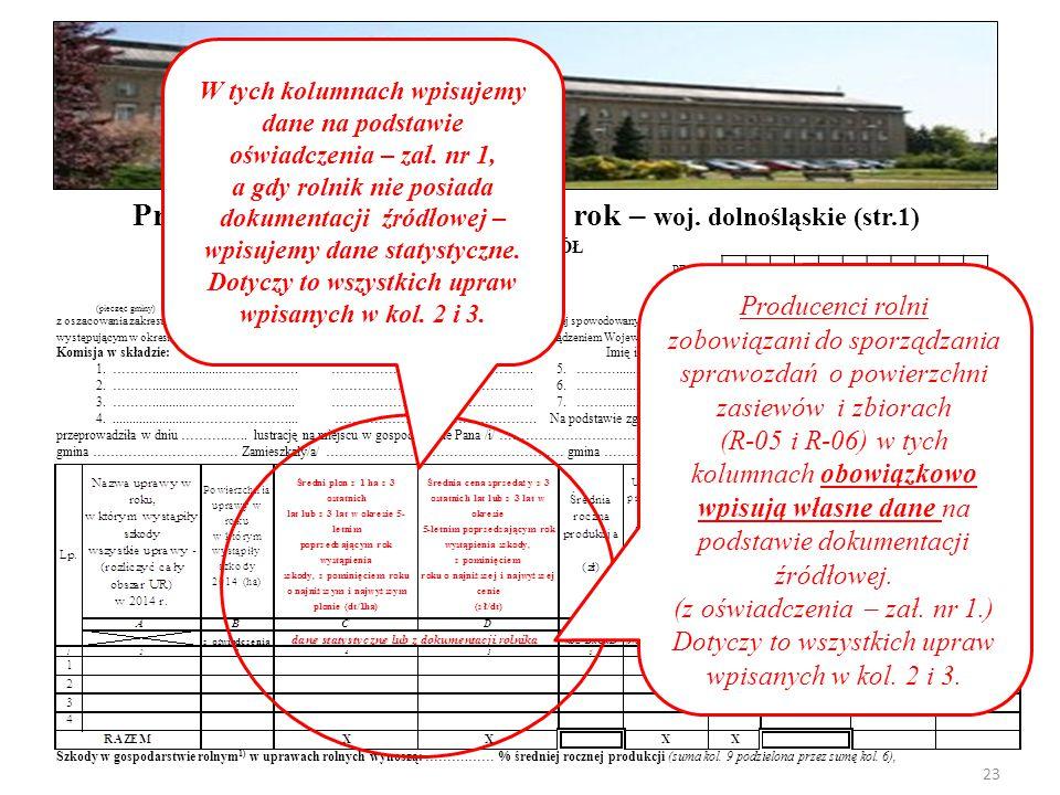 PROTOKÓŁ PESEL: NIG: (pieczęć gminy) z oszacowania zakresu i wysokości szkód w gospodarstwach rolnych i działach specjalnych produkcji rolnej spowodow