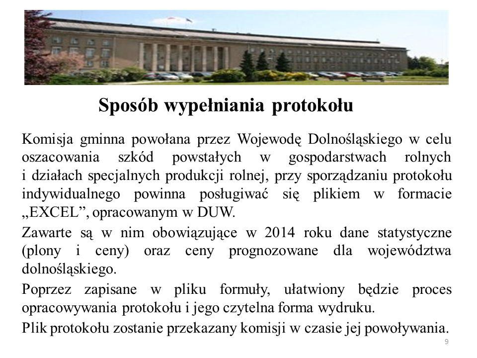 """Komisja gminna powołana przez Wojewodę Dolnośląskiego w celu oszacowania szkód powstałych w gospodarstwach rolnych i działach specjalnych produkcji rolnej, przy sporządzaniu protokołu indywidualnego powinna posługiwać się plikiem w formacie """"EXCEL , opracowanym w DUW."""