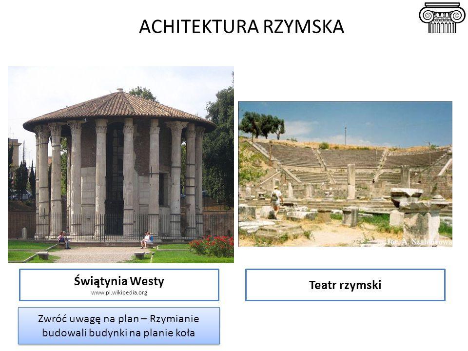 ACHITEKTURA RZYMSKA Świątynia Westy www.pl.wikipedia.org Teatr rzymski Zwróć uwagę na plan – Rzymianie budowali budynki na planie koła