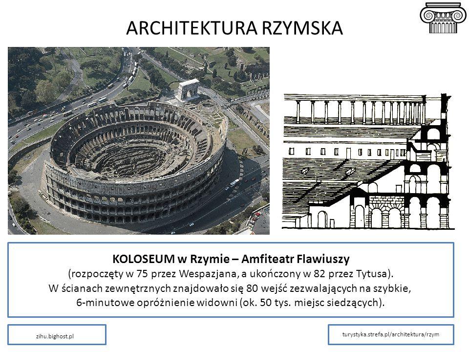 ARCHITEKTURA RZYMSKA KOLOSEUM w Rzymie – Amfiteatr Flawiuszy (rozpoczęty w 75 przez Wespazjana, a ukończony w 82 przez Tytusa). W ścianach zewnętrznyc