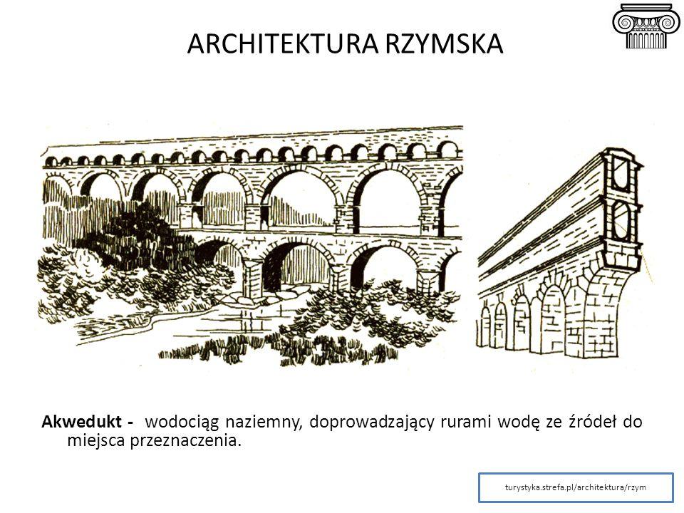 Akwedukt - wodociąg naziemny, doprowadzający rurami wodę ze źródeł do miejsca przeznaczenia. turystyka.strefa.pl/architektura/rzym