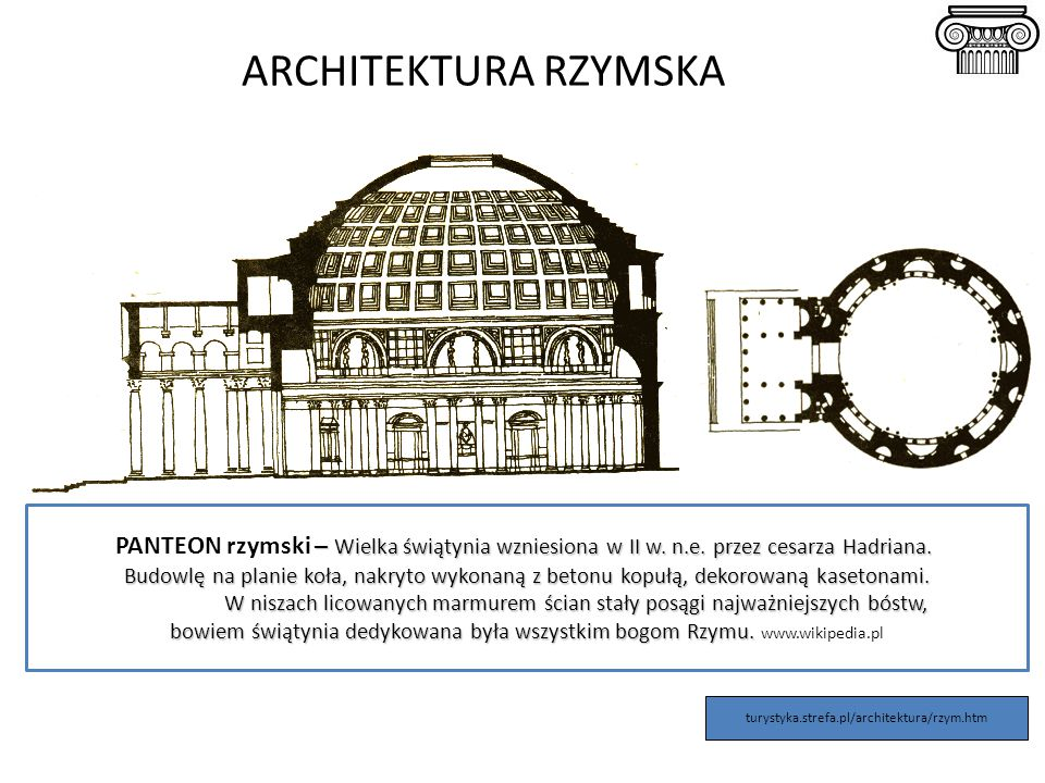 ARCHITEKTURA RZYMSKA – Wielka świątynia wzniesiona w II w. n.e. przez cesarza Hadriana. PANTEON rzymski – Wielka świątynia wzniesiona w II w. n.e. prz