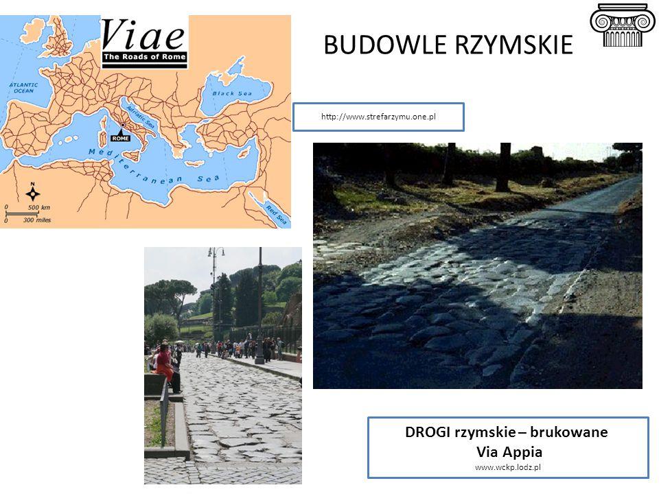 BUDOWLE RZYMSKIE DROGI rzymskie – brukowane Via Appia www.wckp.lodz.pl http://www.strefarzymu.one.pl