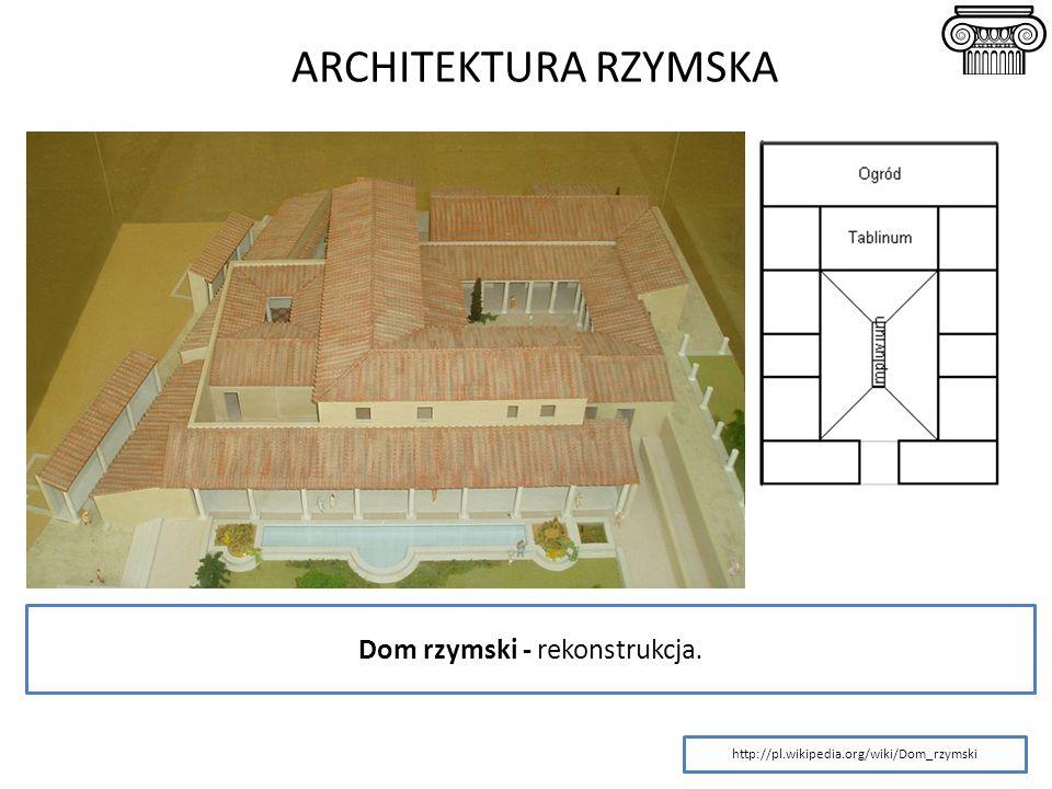 ARCHITEKTURA RZYMSKA http://pl.wikipedia.org/wiki/Dom_rzymski Dom rzymski - rekonstrukcja.