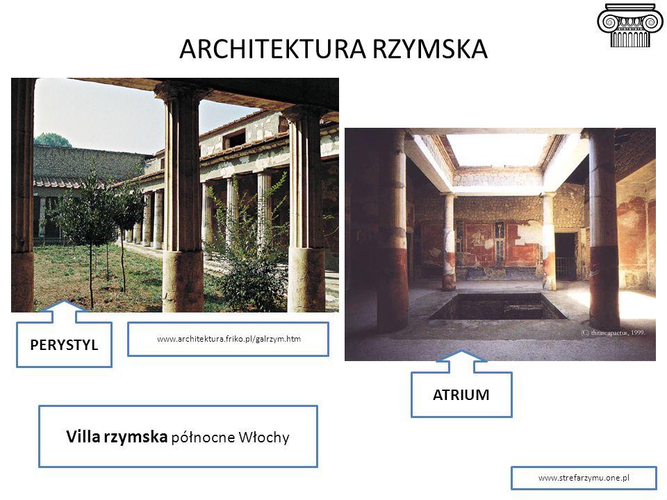 ARCHITEKTURA RZYMSKA Villa rzymska północne Włochy PERYSTYL ATRIUM www.strefarzymu.one.pl www.architektura.friko.pl/galrzym.htm
