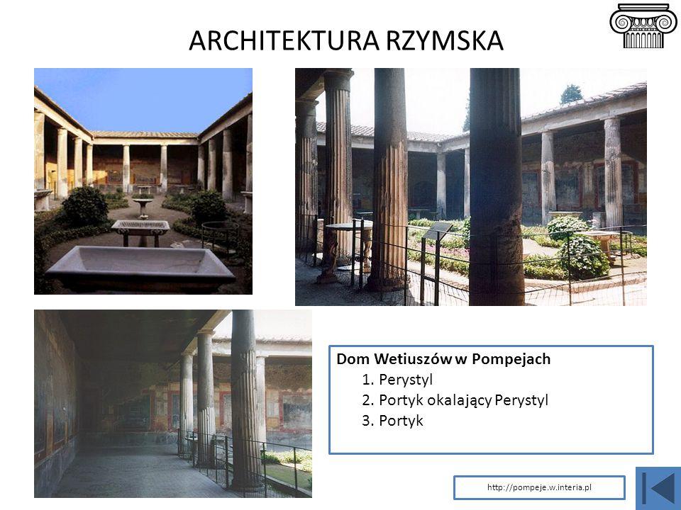 ARCHITEKTURA RZYMSKA Dom Wetiuszów w Pompejach 1. Perystyl 2. Portyk okalający Perystyl 3. Portyk http://pompeje.w.interia.pl
