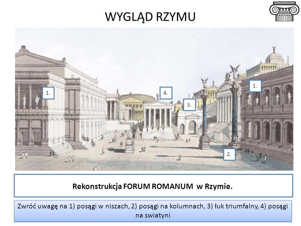 Rekonstrukcja FORUM ROMANUM w Rzymie. WYGLĄD RZYMU Zwróć uwagę na 1) posągi w niszach, 2) posągi na kolumnach, 3) łuk triumfalny, 4) posągi na swiatyn