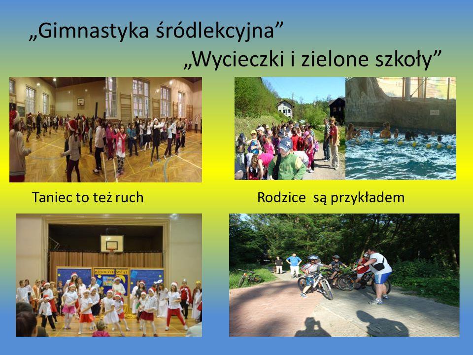 """""""Gimnastyka śródlekcyjna """"Wycieczki i zielone szkoły Taniec to też ruch Rodzice są przykładem"""