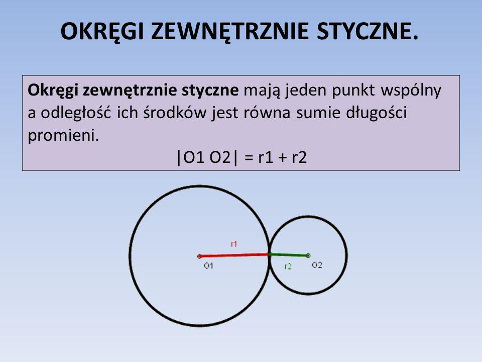OKRĘGI ZEWNĘTRZNIE STYCZNE. Okręgi zewnętrznie styczne mają jeden punkt wspólny a odległość ich środków jest równa sumie długości promieni. |O1 O2| =