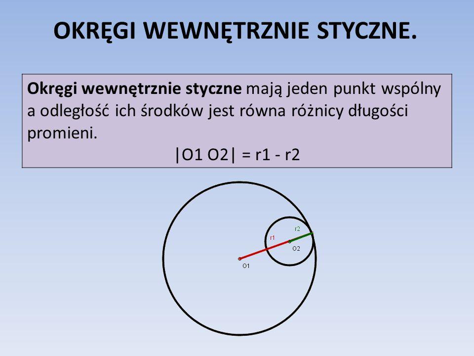 OKRĘGI WEWNĘTRZNIE STYCZNE. Okręgi wewnętrznie styczne mają jeden punkt wspólny a odległość ich środków jest równa różnicy długości promieni. |O1 O2|