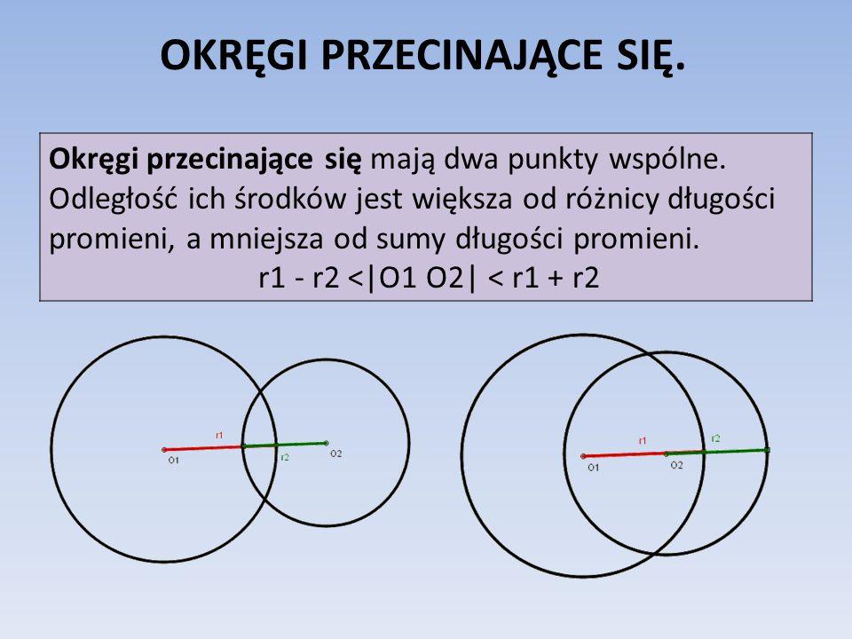 OKRĘGI PRZECINAJĄCE SIĘ. Okręgi przecinające się mają dwa punkty wspólne. Odległość ich środków jest większa od różnicy długości promieni, a mniejsza