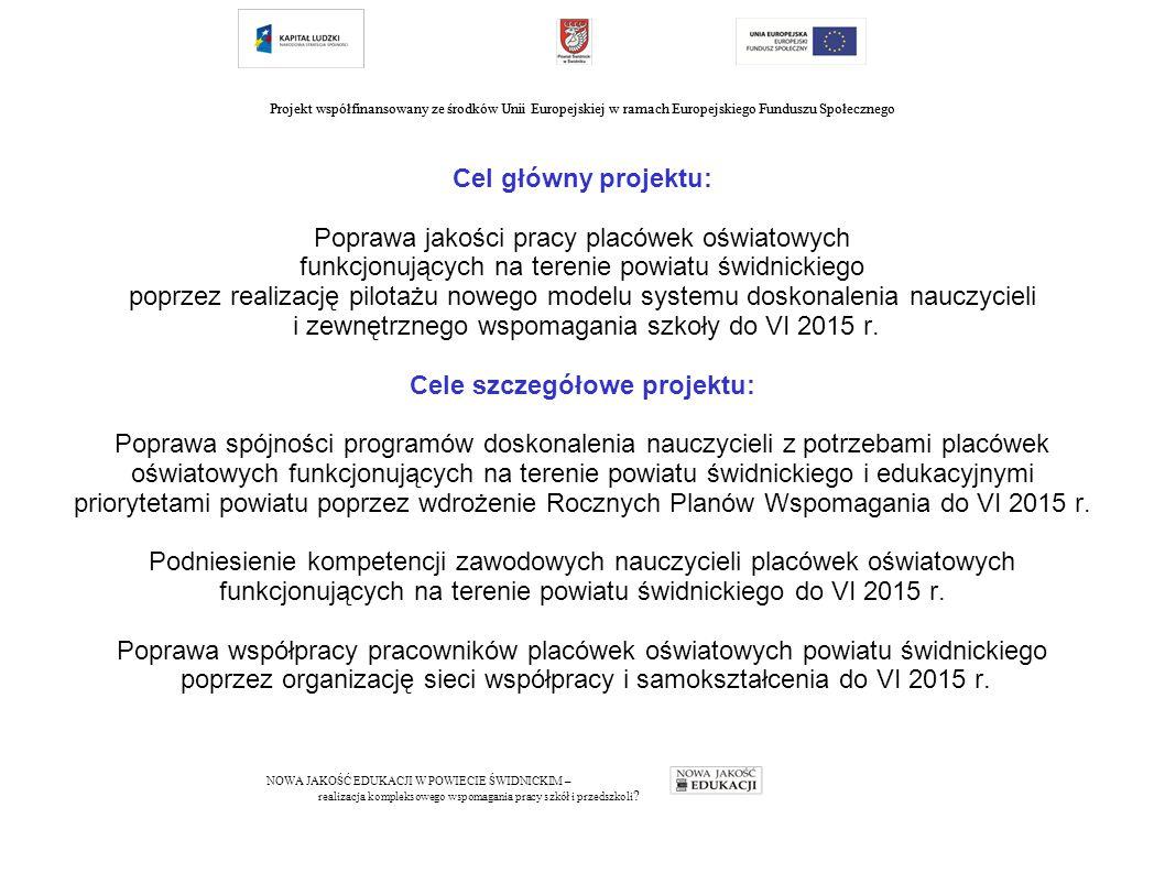 Cel główny projektu: Poprawa jakości pracy placówek oświatowych funkcjonujących na terenie powiatu świdnickiego poprzez realizację pilotażu nowego modelu systemu doskonalenia nauczycieli i zewnętrznego wspomagania szkoły do VI 2015 r.