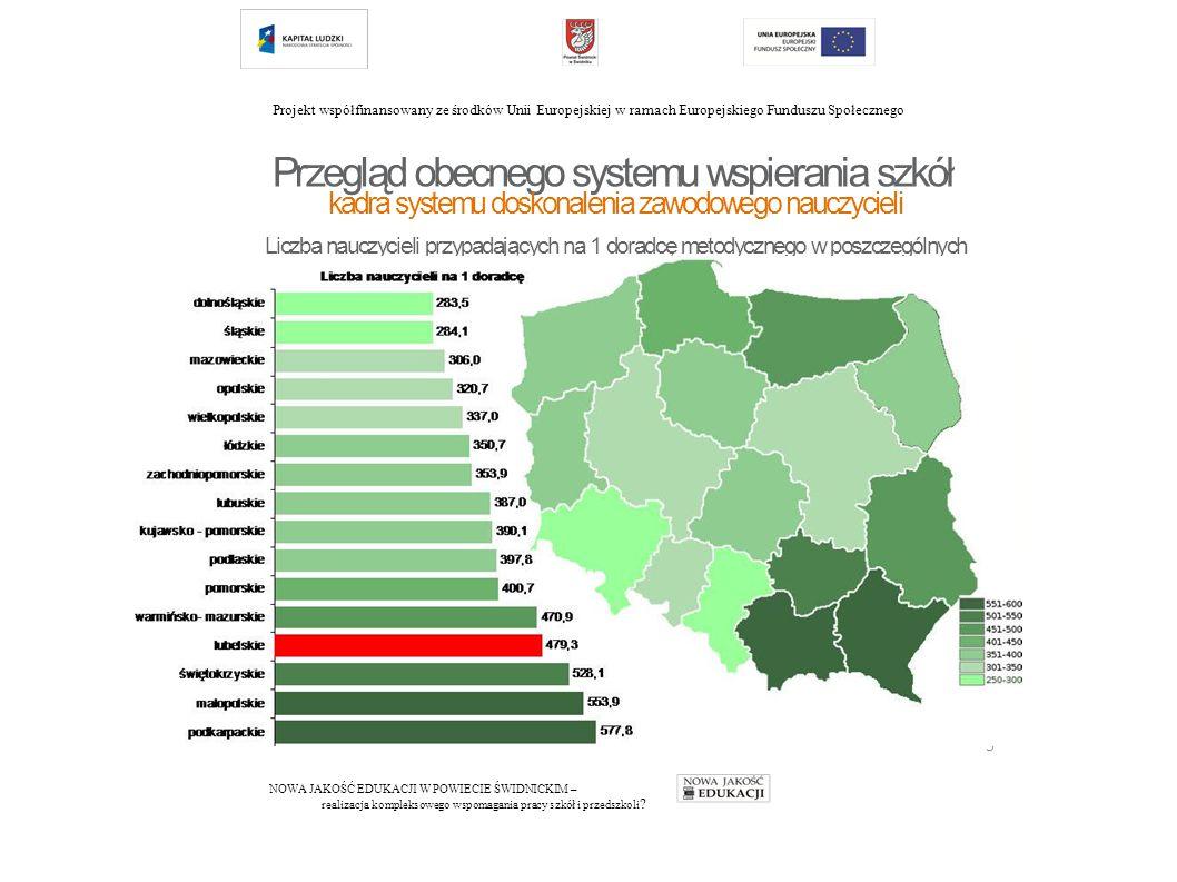 Projekt współfinansowany ze środków Unii Europejskiej w ramach Europejskiego Funduszu Społecznego NOWA JAKOŚĆ EDUKACJI W POWIECIE ŚWIDNICKIM – realizacja kompleksowego wspomagania pracy szkół i przedszkoli .